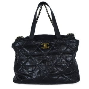 Chanel Black Quilted Leather Tote Bag